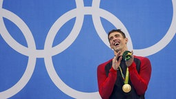 US-Schwimmer Michael Phelps lacht. © DPA Picture Alliance Foto: Patrick B. Kraemer