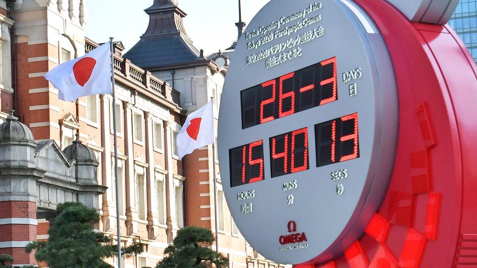 Eine Olympia-Countdown-Uhr in Tokio