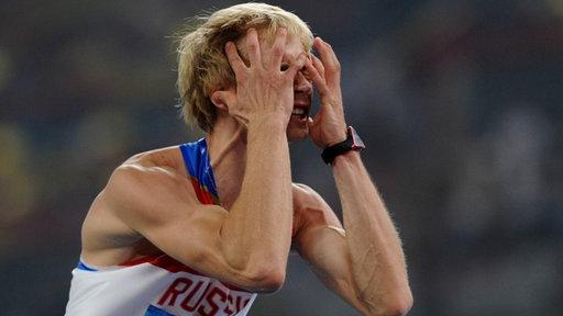 Der russische Hochspringer Andrej Silnow bei den Olympischen Spielen 2008 in Peking.
