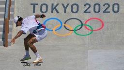 Der US-amerikanische Skater Nyjah Huston beim Street-Wettbewerb