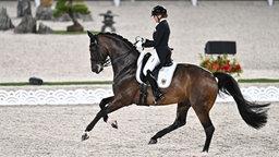 Die Deutsche Reiterin und ihr Pferd Showtime FRH nehmen an der Mannschafts- und Einzelqualifikation teil.