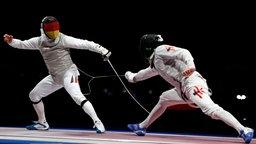 Andre Sanita (l.) in Aktion gegen Siu Lun Cheung beim Fechten