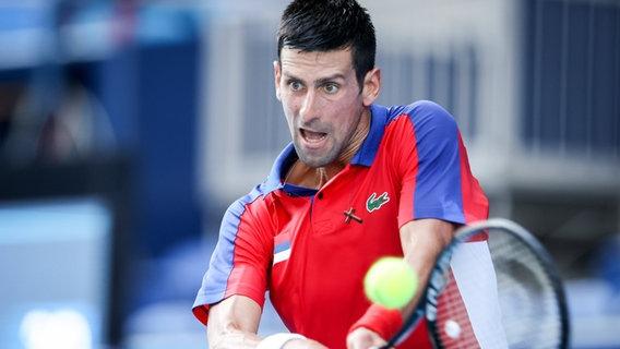Novak Djokovic beim olympischen Tennis-Turnier in Tokio 2020 © imago images/GEPA/Steiner
