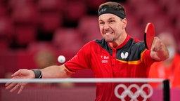 Der deutsche Tischtennis-Spieler Timo Boll in Aktion