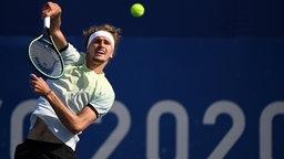 Deutscher Tennisspieler Alexander Zverev in Aktion