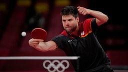 Deutscher Tennisspieler Dimitrij Ovtcharov in Aktion