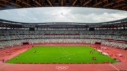 Eine Großaufnahme vom Leichtathletik Stadion in Tokio.