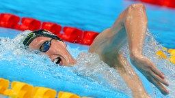 Der deutsche Schwimmer Florian Wellbrock in Aktion über 1.500 Meter Freistil