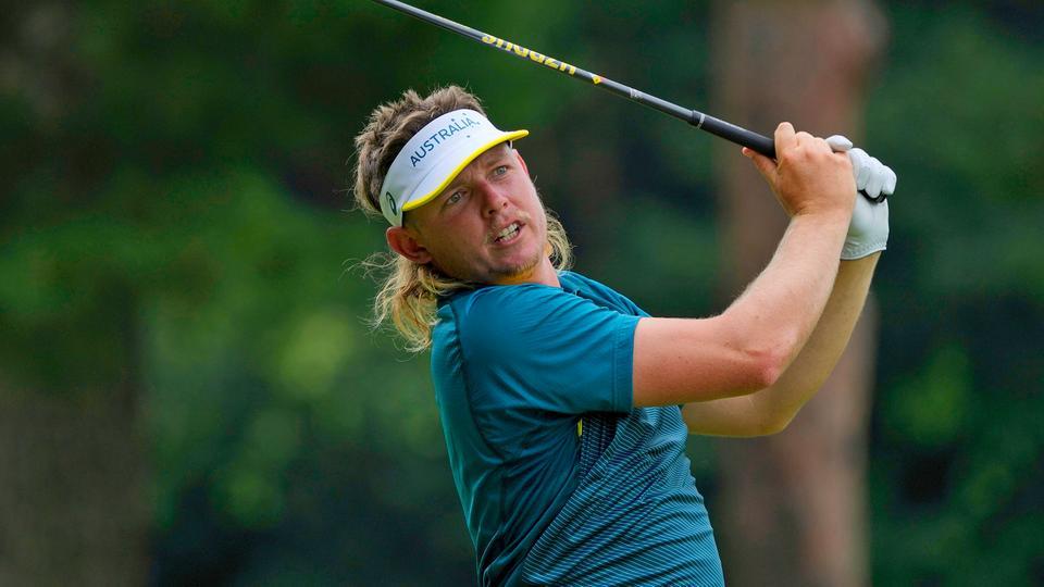 Der australische Golfer Cameron Smith beim Schlag am sechsten Loch. | picture alliance