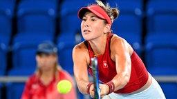 Die schweizerische Tennis-Spielerin Belinda Bencic in Aktion.