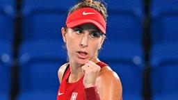 Die schweizerische Tennis-Spielerin Belinda Bencic jubelt.