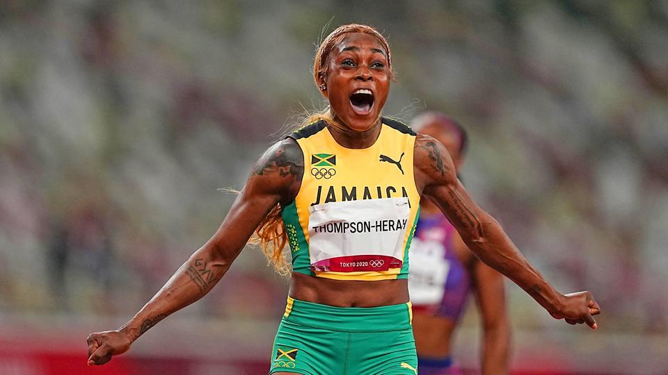 Die jamaikanische Sprinterin Elaine Thompson-Herah gewinnt Gold über 100 Meter. | dpa-Bildfunk