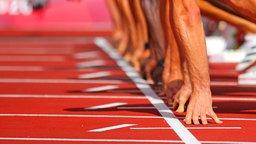 Athleten beim Start über 100 Meter.