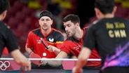 Das deutsche Tischtennis-Doppel Timo Boll und Patrick Franziska. © picture alliance/dpa/Pförtner