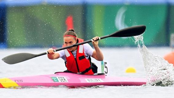 Die deutsche Para-Kanutin Edina Müller im Finale über 200 Meter. © WITTERS Foto: AdamNurkiewicz